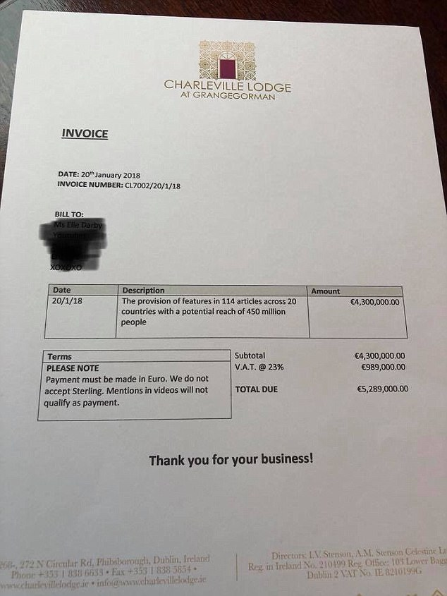 Ellie Darby invoice from the White Moose hotel